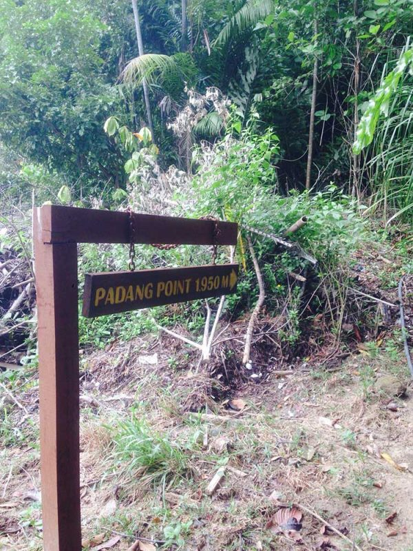 Start of jungle trekking trail from Base Camp to Padang Point on Gaya Island