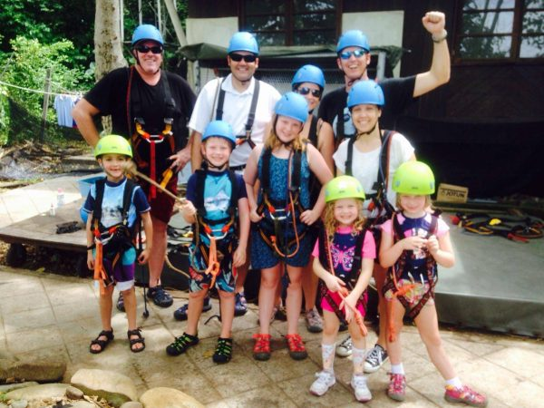 Getting geared up for the Coral Flyrer Zipline in Kota Kinabalu