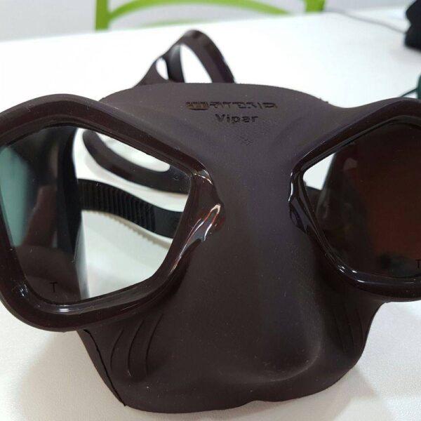 Close-up of a black Mares Viper mask