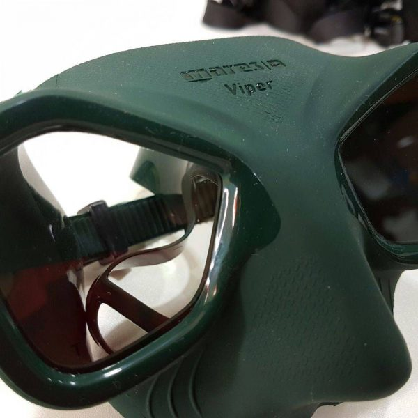 Close-up of a green Mares Viper mask