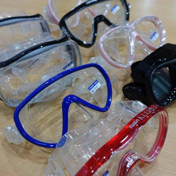 Tusa scuba diving and snorkeling masks with a range of colours and styles.