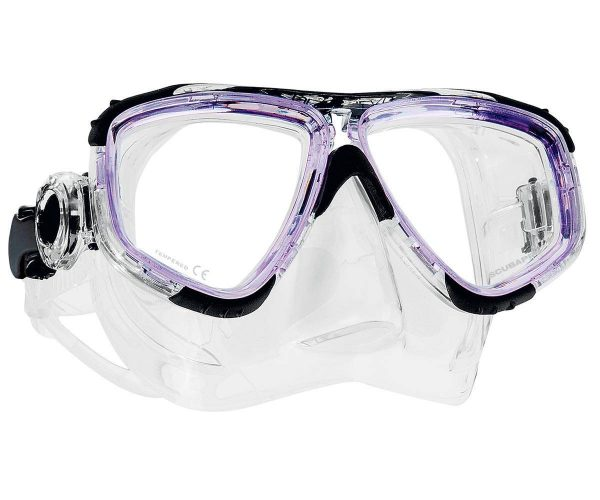 Scubapro Zoom mask trasparent and purple frame with clear skirt.