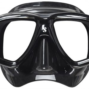 Scubapro Flux Twin Mask with metallic black frame and black skirt.