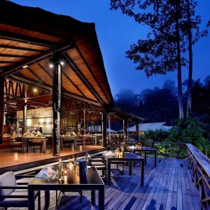 Open plan restaurant at Borneo Rainforest Lodge, Danum Valley