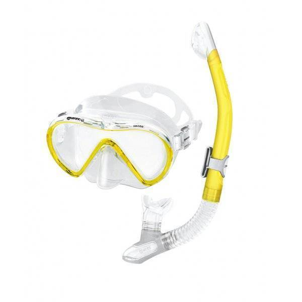 Mares Vento mask and snorkel set in yellow and clear.