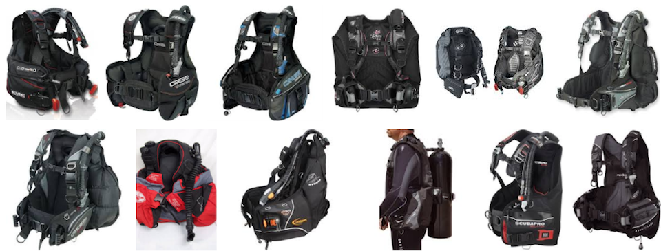BCD's all shapes and sizes. Buy today from the Borneo Dream Dive Shop and kick off your Sabah Diving adventure.